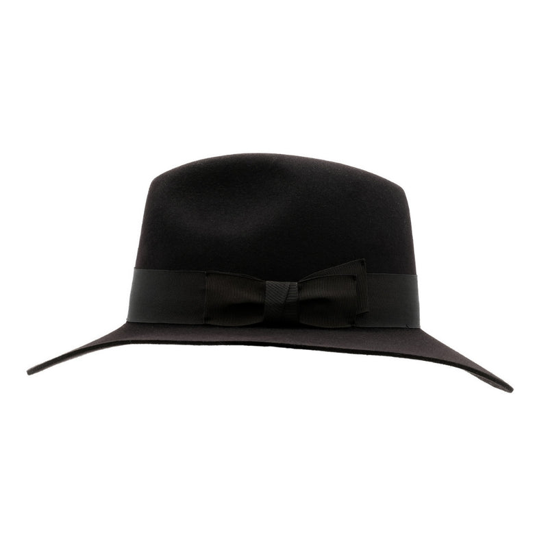 side view of Akubra Adventurer hat in Black