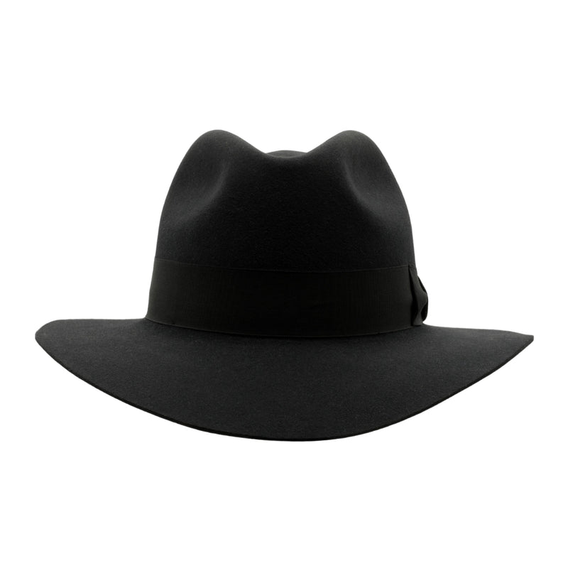 Front view of Akubra Adventurer hat in Graphite Grey