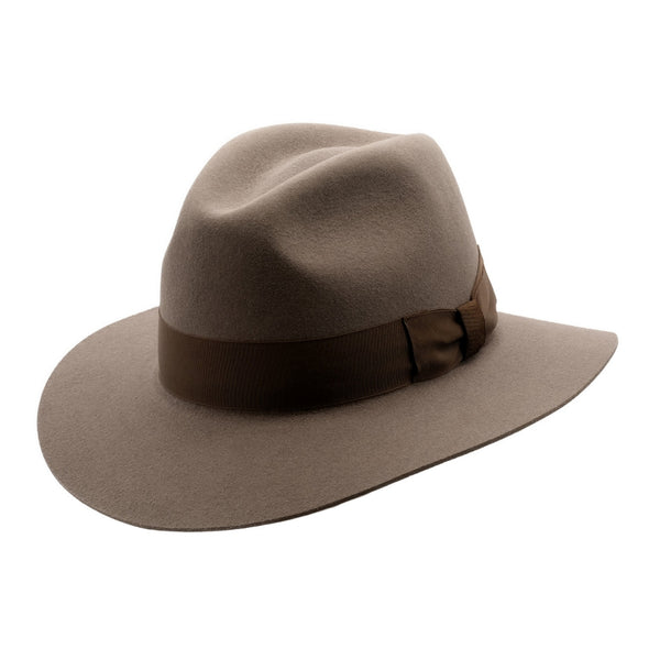 Angle view of Akubra Adventurer hat in Regency Fawn