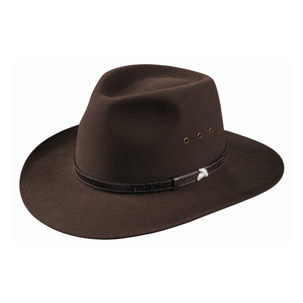 Angle view Akubra Angler style hat in Loden colour.