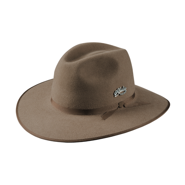 Angle view of Akubra Centenary hat in bran colour.