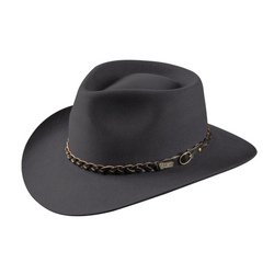 angle view of Akubra Stockman style hat in Glen Grey colour.