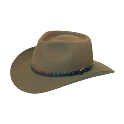 angle view of Akubra Stockman style hat in Santone colour.