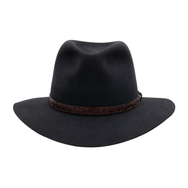 Front view of Akubra Banjo Paterson hat - graphite grey colour