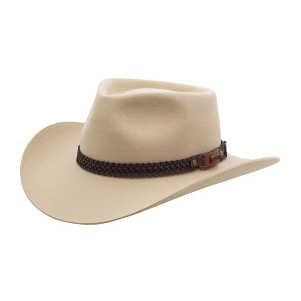 Angle view of Akubra Snowy River hat in Sand colour