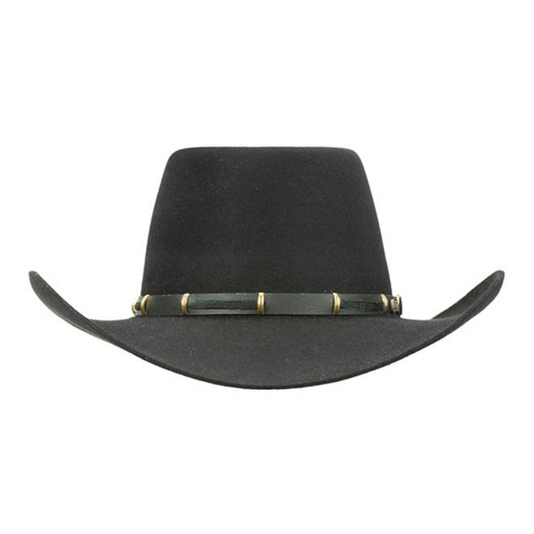 Front view of Akubra the Boss style hat in black colour.