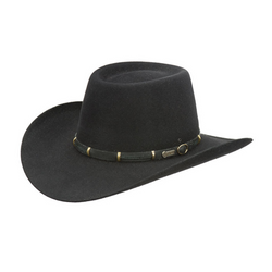 angle view of Akubra the Boss style hat in black colour.