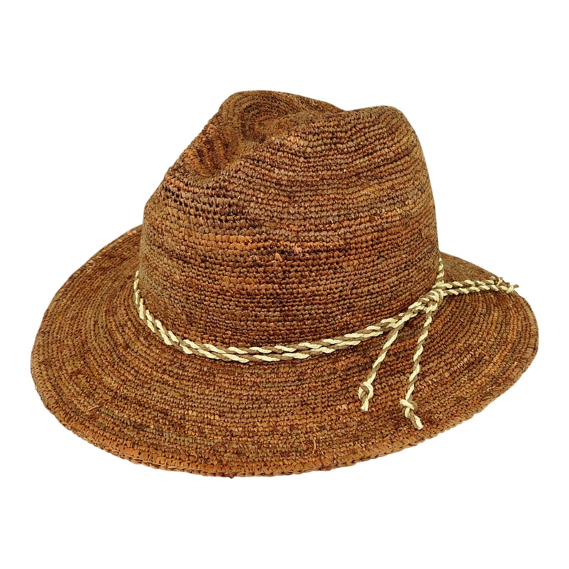 Avenel Raffia Safari hat in coffee colour with Twisted Trim
