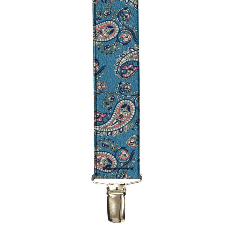 Buckle X-Back Braces - Paisley Blue