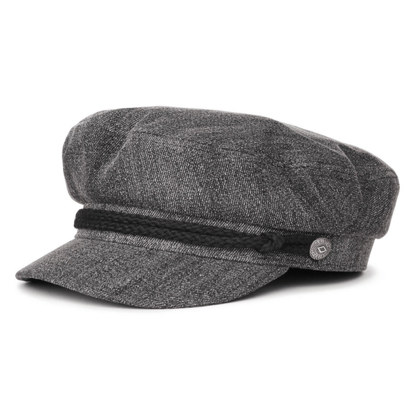 angle view of Brixton fiddler cap in Black acid wash colour