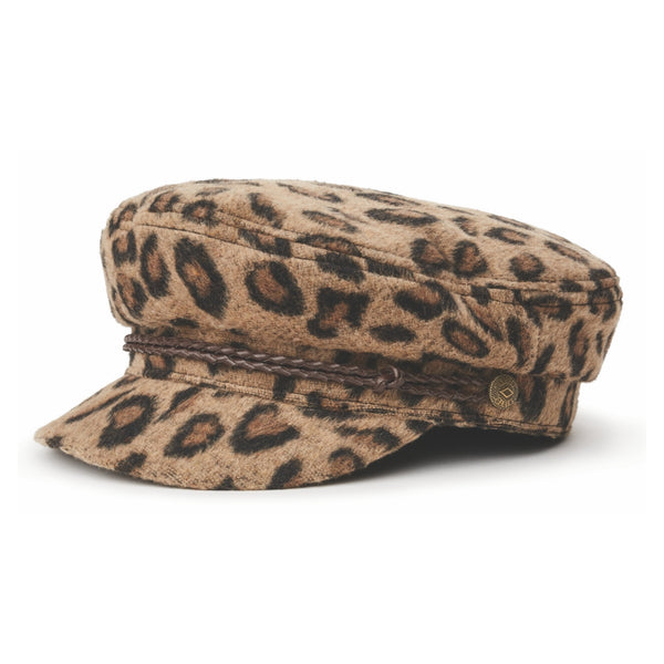 Angle view of Brixton Fiddler cap in Leopard print
