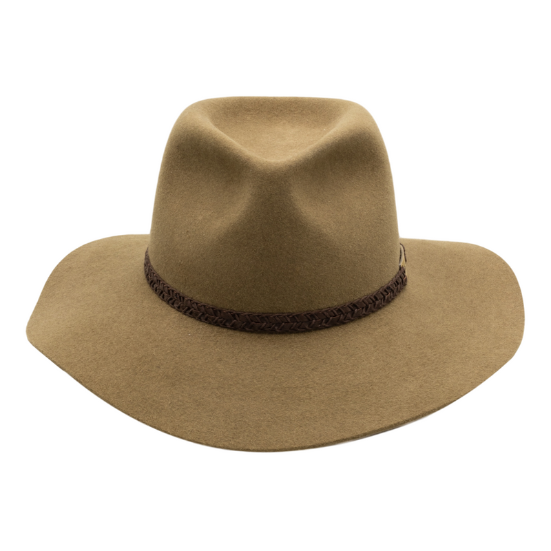 Front view of Akubra Avalon hat in Eucalypt colour
