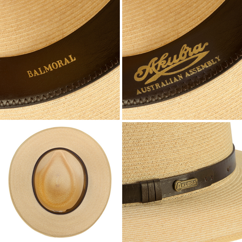 Compilation of images of Akubra Balmoral hat showing interior detail and hat band