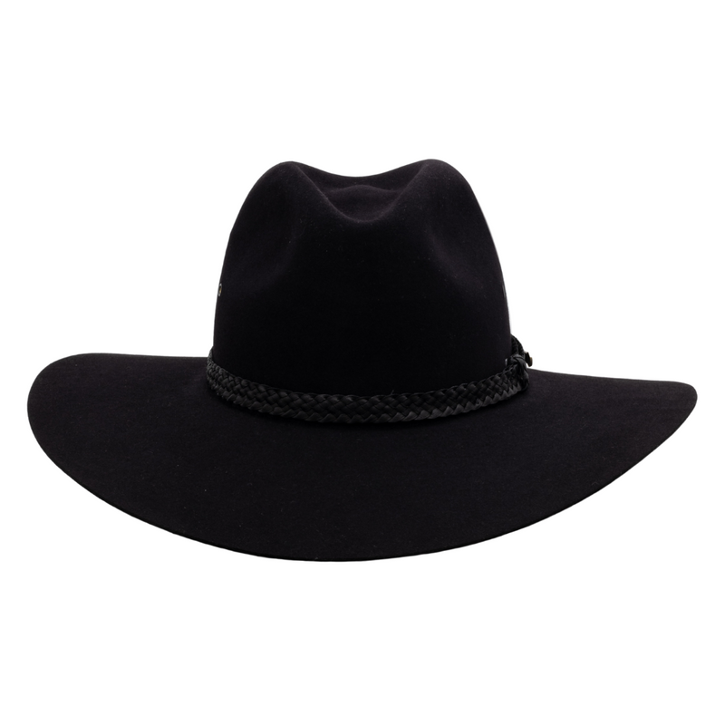 Front-on view of Akubra black Riverina hat