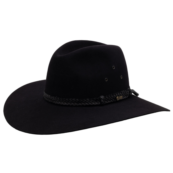 Angle view of Akubra black Riverina hat