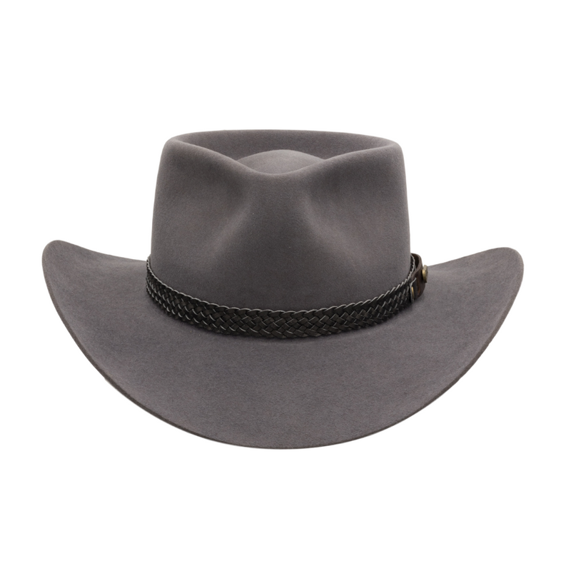 Front view of Akubra Snowy River Country style hat in Glen Grey