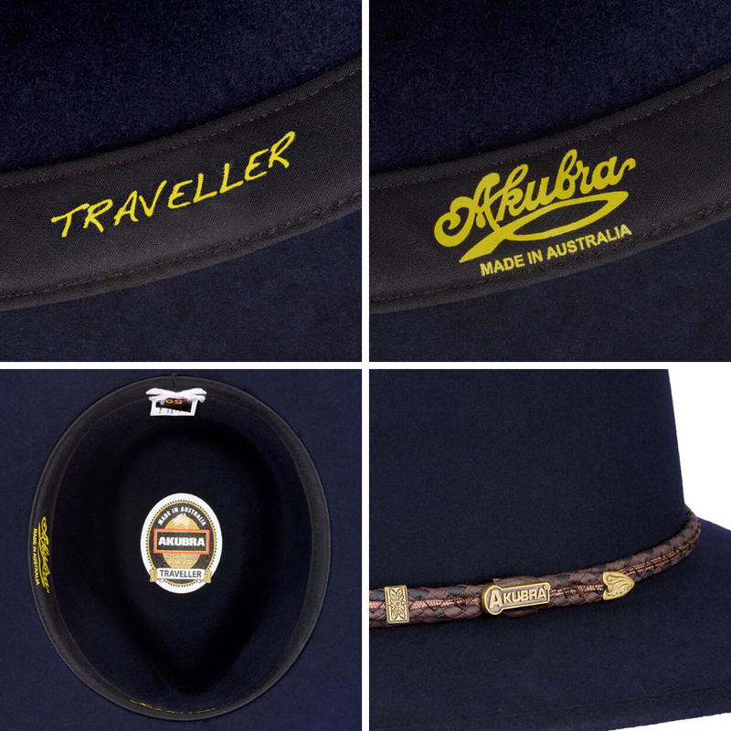 Compilation of images of Akubra Traveller hat in Federation Navy colour interior and hat band detail