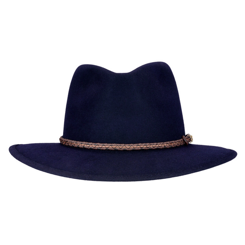 Front-on view of Akubra Traveller hat in Federation Navy colour