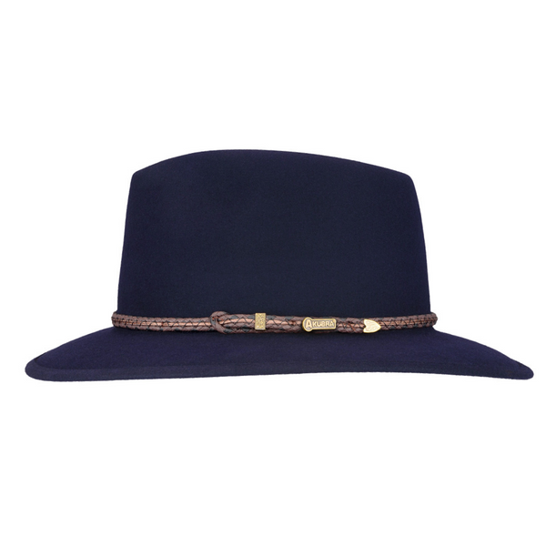 Side view of Akubra Traveller hat in Federation Navy colour
