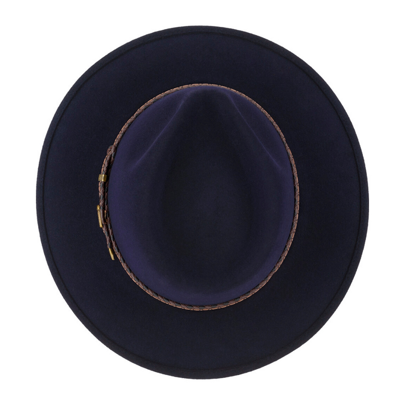 View of Akubra Traveller hat in Federation Navy colour from top down