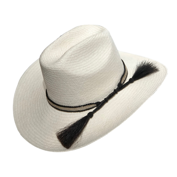 Avenel Cuenca #3 Texan hat with Horsehair Trim - Bleach colour