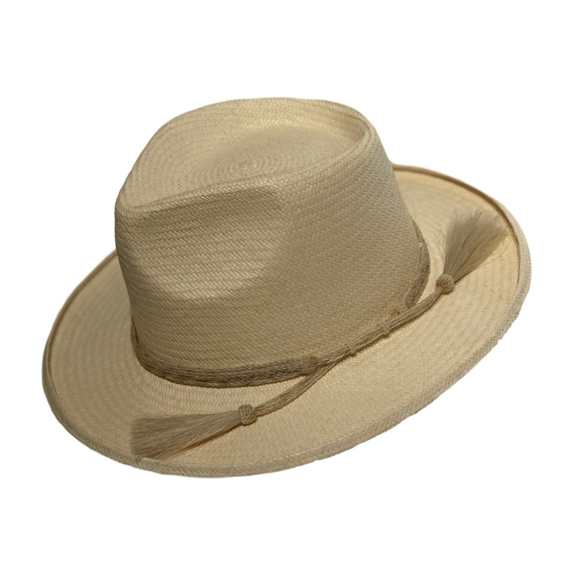 Brisbane Hatters Avenel Turned Edge Fedora w/ Horsehair Trim - Natural