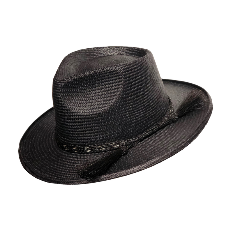 Avenel Turned Edge Fedora with Horsehair Trim in Black colour