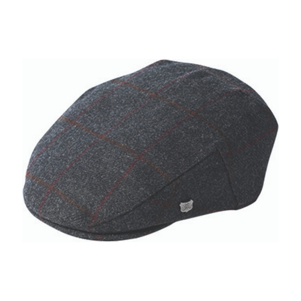 Failsworth Cambridge wool cap in charcoal check pattern
