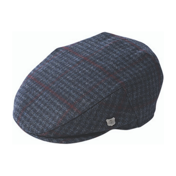 Failsworth Cambridge wool cap in Navy Houndstooth pattern