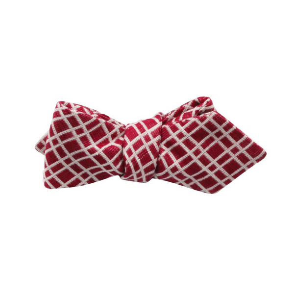 Fine and Dandy Red check cotton bowtie.