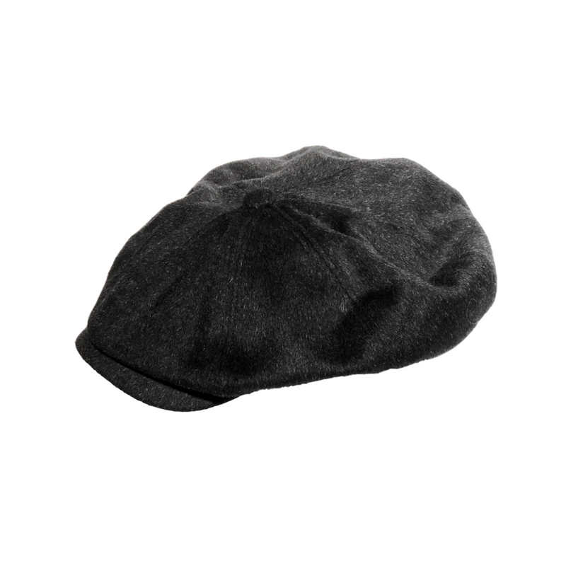 Brisbane Hatters Hills Hats Dartford Tweed Paperboy Cap - Charcoal