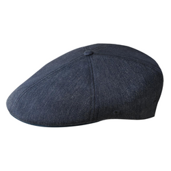 Side view of Kangol 504 flexfit cap in denim