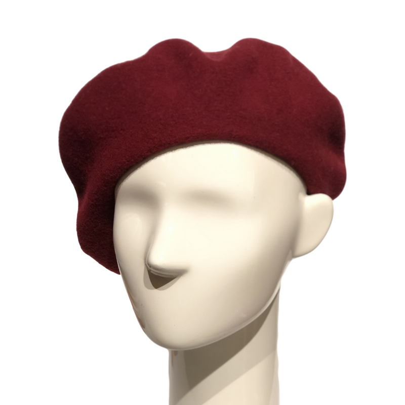 Le Beret Francais in Burgundy on a Brisbane Hatters mannequin head