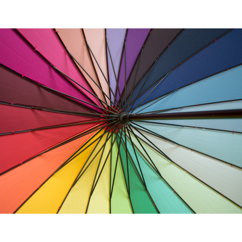 Rainbow Soake umbrella - showing ribs