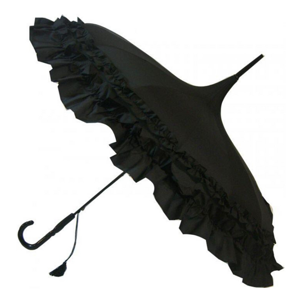 Black Frilled Pagoda style umbrella from Soake