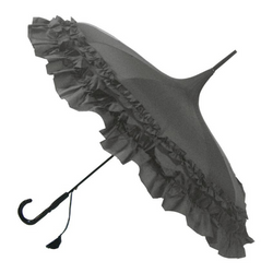 Grey Frilled Pagoda style umbrella from Soake