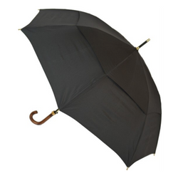 Black Mens Auto Compact umbrella from Soake - shown open