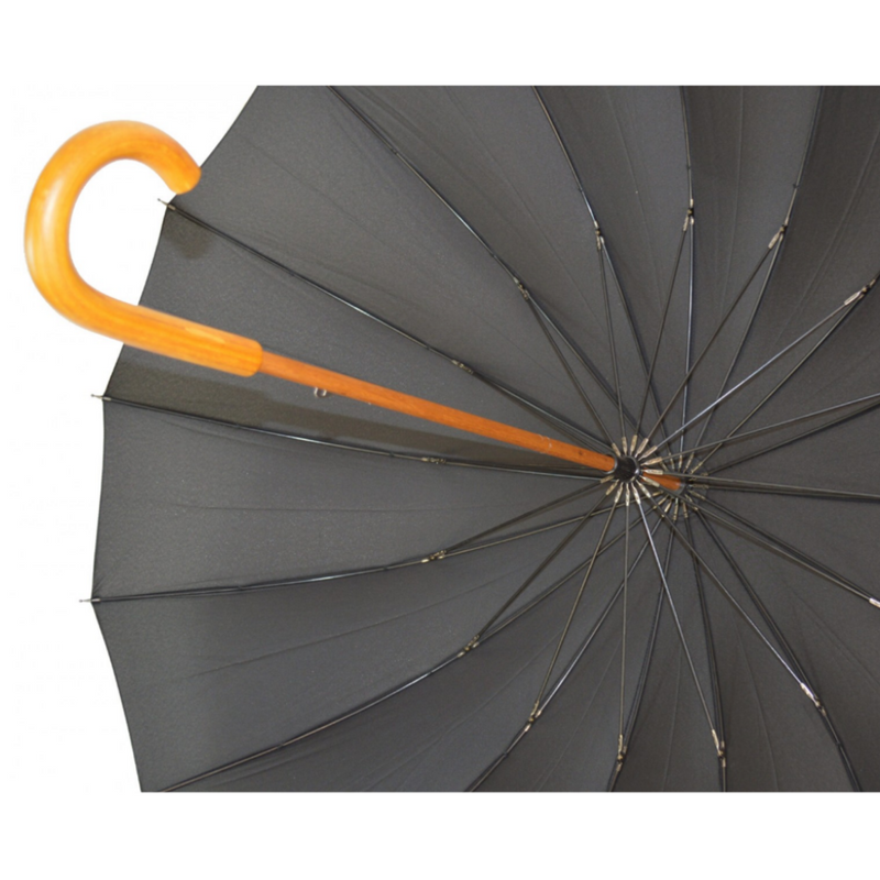 Black Manual Stick umbrella from Soake - rib detail