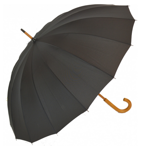 Black Manual Stick umbrella from Soake - shown open