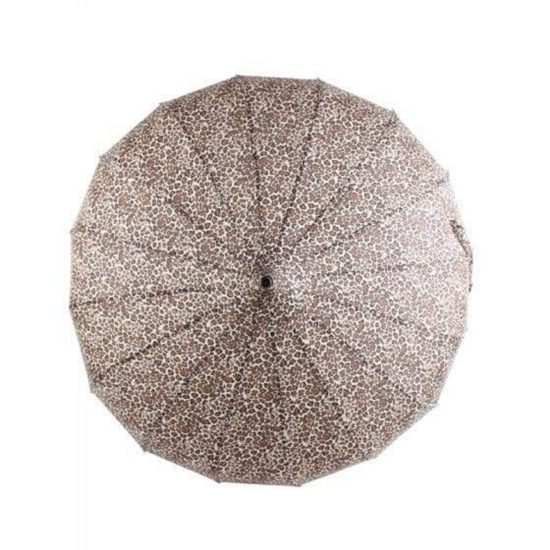 Leopard pattern Pagoda style Soake umbrella - looking top down