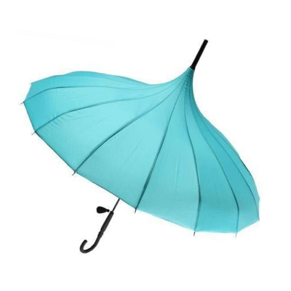 Teal Pagoda style Soake umbrella - shown open