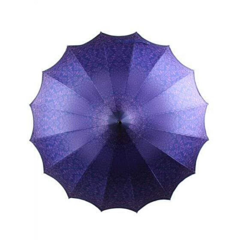 Purple Scalloped Pagoda style umbrella from Soake - top down