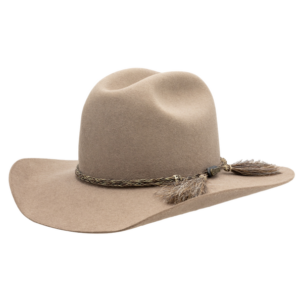 Angle view of Akubra Rough Rider Western style hat in Bran colour