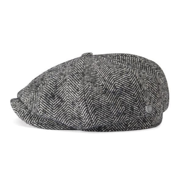 Brixton Baggy Brood Cap - Black Herringbone