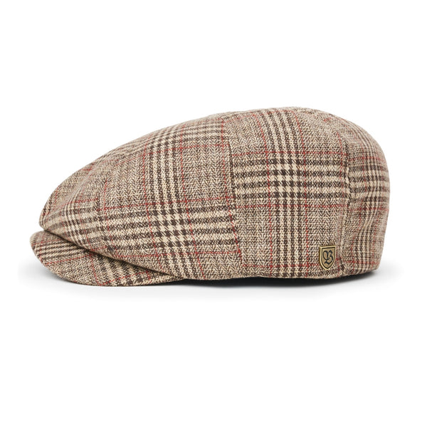 side view of Brixton Brood cap in Khaki Plaid