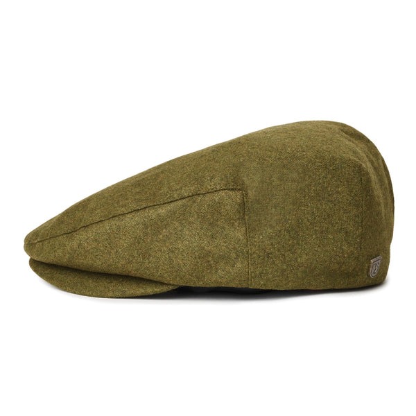 Side view of Brixton Hooligan cap in moss green colour