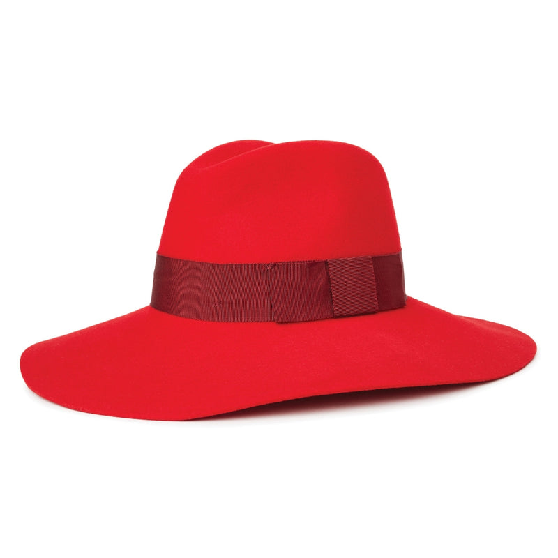 Angle view of the brixton Piper, a floppy brim hat in red