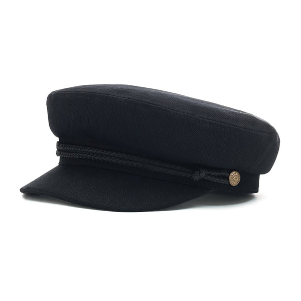angle view of Brixton fiddler cap in black