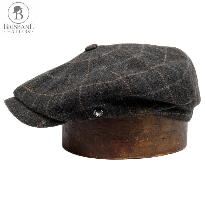 Hills Hats Coal Fire Paperboy Cap - Black - Brisbane Hatters