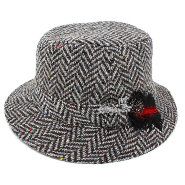 Hanna Tweed Walking Hat - Granite Herringbone